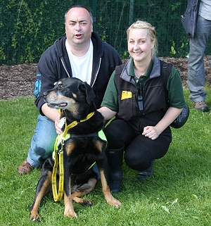 Rick Cutts, Lisa Cole From DogsTrust With Best In Show Katie