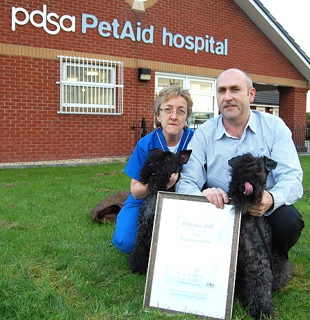 Tony Muat and his Kerry Blue Terriers With Senior Vet Christina Symonds